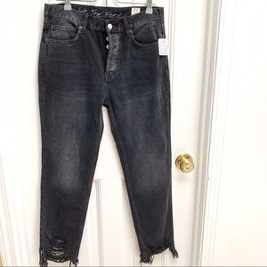 Free People Grey Raw Hem High Rise Ankle Jeans